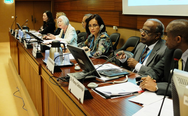 Chair of GAPA, Sally Casswell, with panel presenting at the WHA side event.